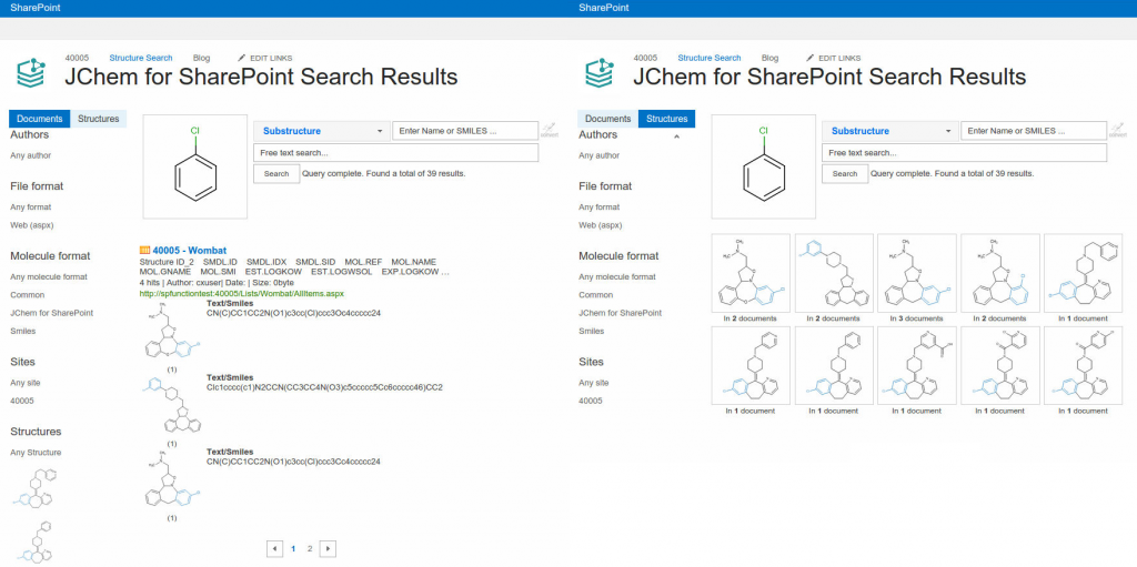 The document and structure hit list after a chemical search with JChem for SharePoint