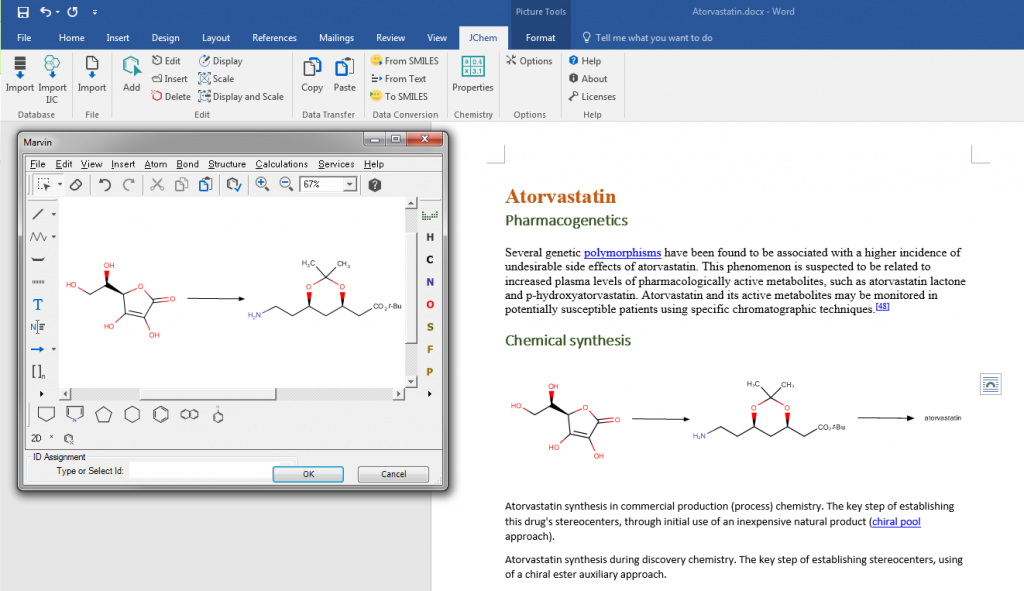 Editable chemical structures in MS Office using JChem technology