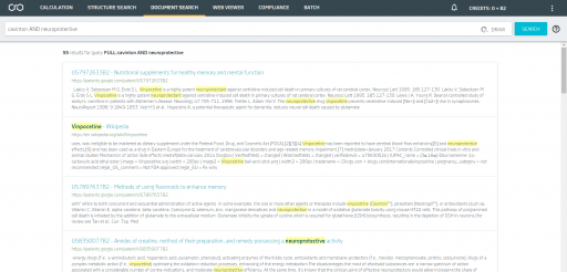 Document Search in Chemicalize's patent and journal database