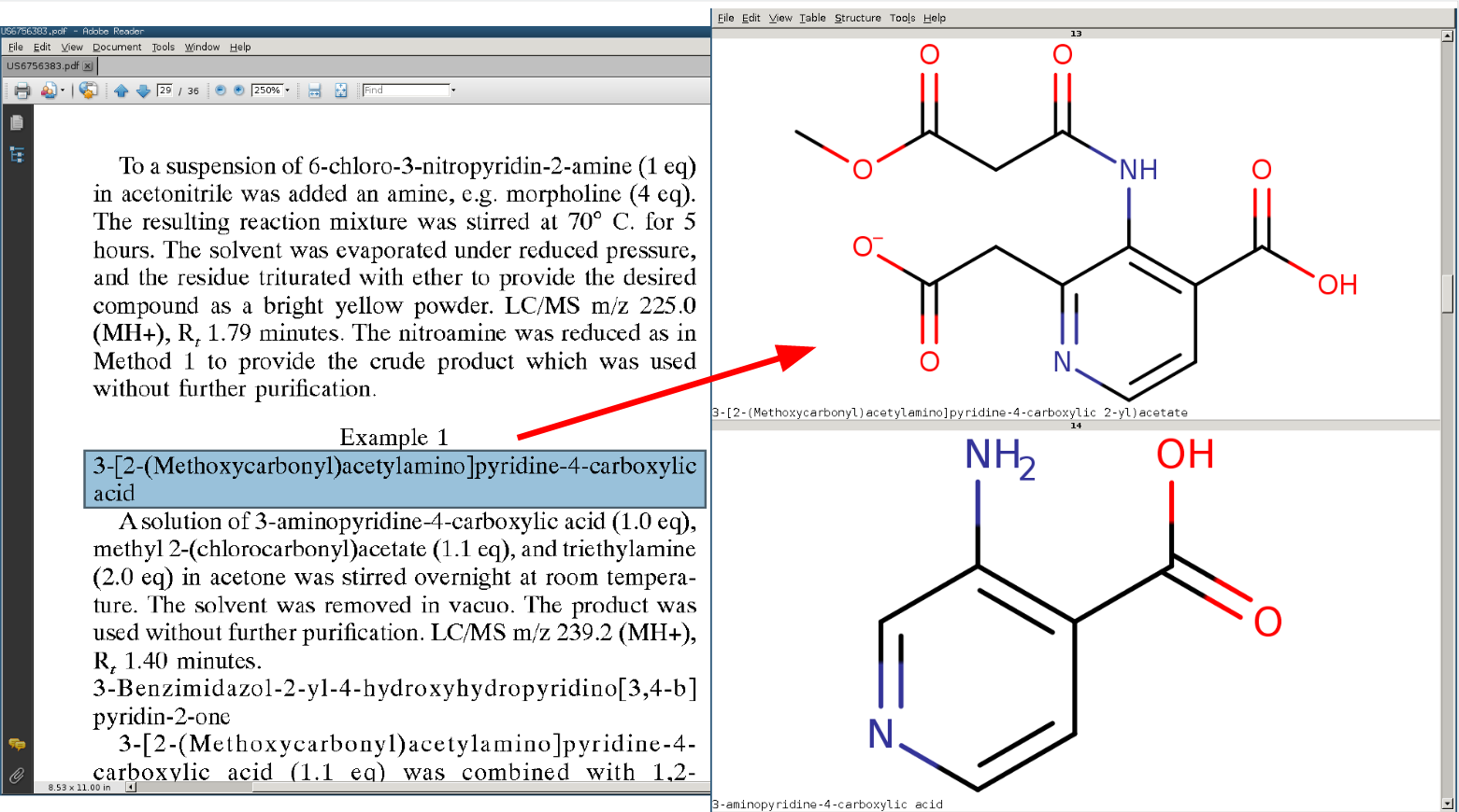 Extracting and converting chemical information to chemical structure