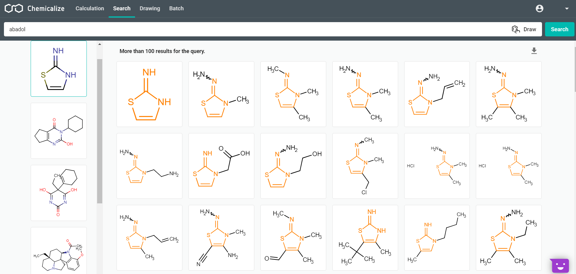 Substructure Search in Chemicalize's public molecule library