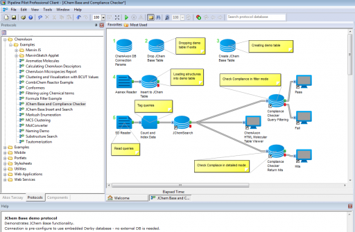 Pipeline Pilot workflow with ChemAxon components