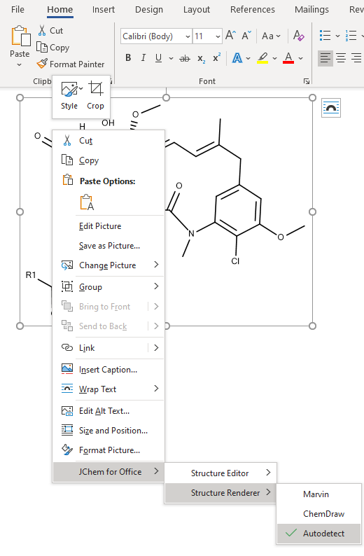 JChem for Office Lite Context Menu