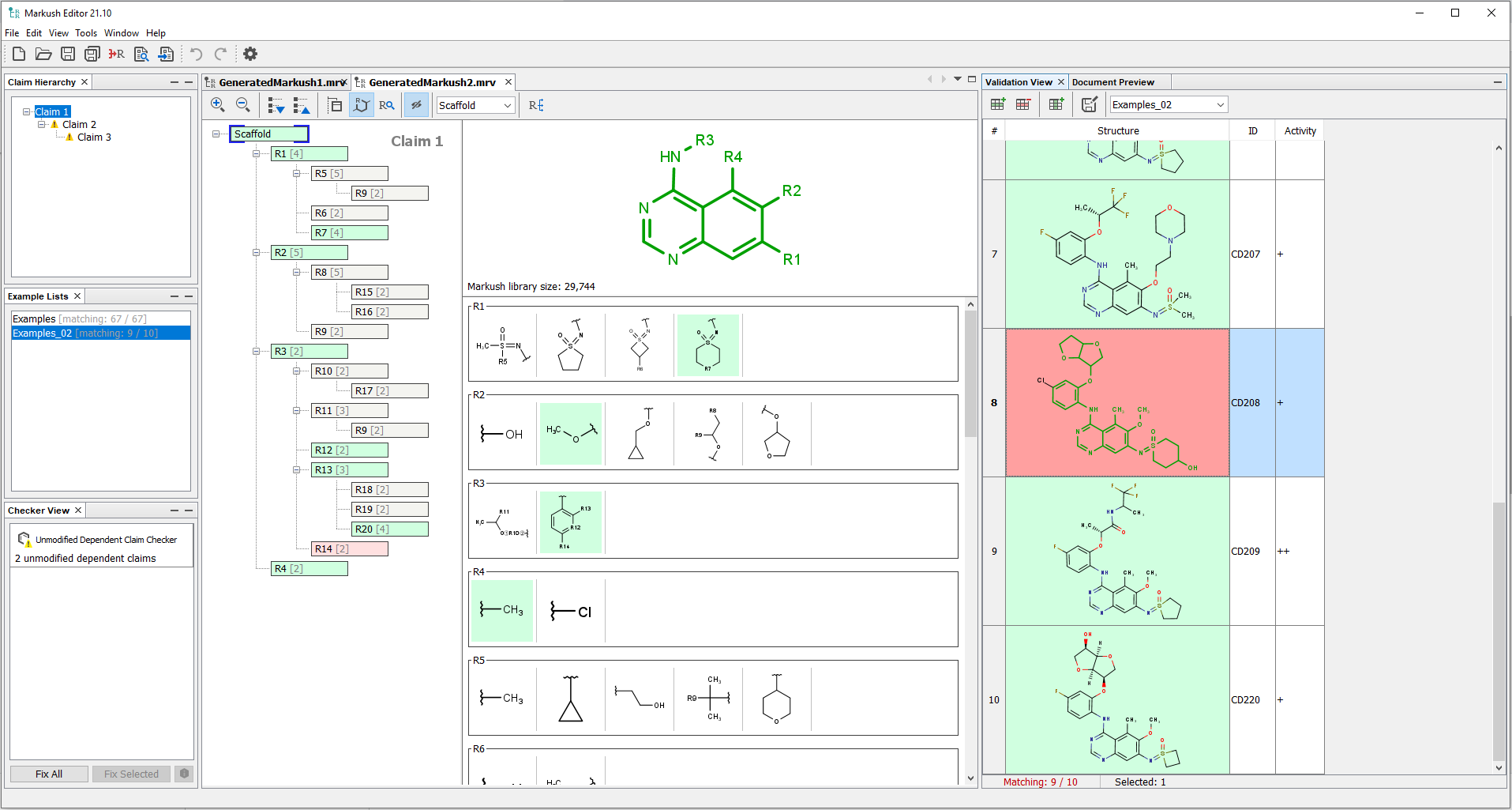 Canvas of Markush Editor with the tree-like visualization
